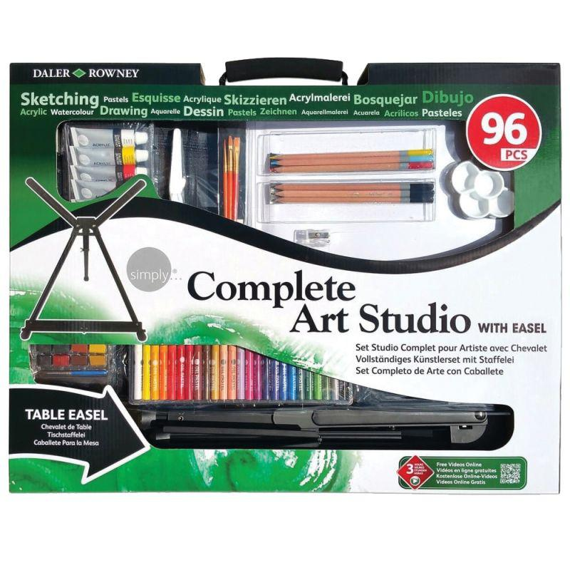 Simply Complete Art Studio Set With Easel (96 Pieces) - Cowling ...