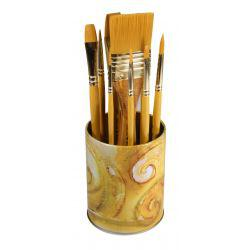 Simply Brush Pot Acrylic with 10 Golden Taklon Brushes