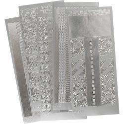 Peel Off Stickers, sheet 10x23 cm, silver, corners and borders, 5asstd sheets.