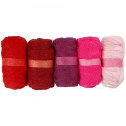 Carded Wool, red harmony, 5x100g.