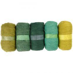 Carded Wool, green harmony, 5x100g.