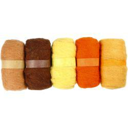 Carded Wool, golden harmony, 5x100g.