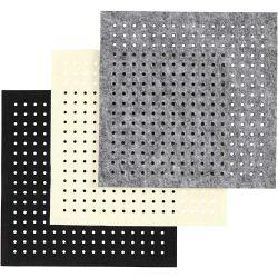 Craft Felt with Holes, sheet 20x20 cm, thickness 3 mm, grey, off-white, black, 12asstd sheets.