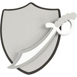 Sword and shield, size 35+40 cm, grey, white, 1set.