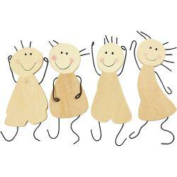 Happy figures, H: 12,5 cm, plywood, 4pcs.