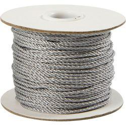 Cord, thickness 2 mm, silver, 50m.