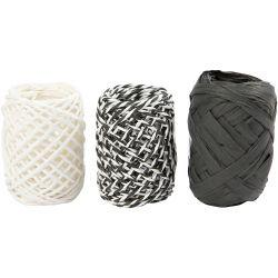 Paper Cord, thickness 1 mm, black/white harmony, 3x10m.