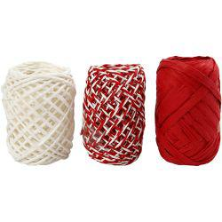Paper Cord, thickness 1 mm, red/white harmony, 3x10m.