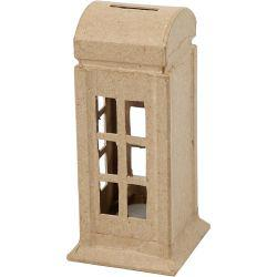 Money Box, telephone box, H: 15 cm, W: 6,5 cm, 1pc.