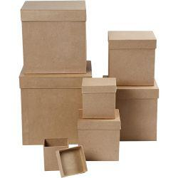 Square Box set, square, size 7,5+10+13+15+18+20+23 cm, H: 7,5+10+13+15+18+20+23 cm, brown, 7pcs.