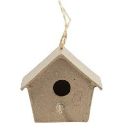 Mini Bird Boxes, H: 5 cm, 4pcs.