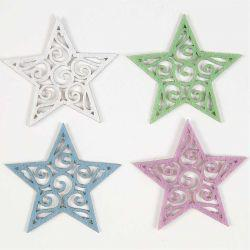 Felt Stars, D: 46 mm, thickness 1 mm, white, light blue, light lillac, light green, 180asstd.