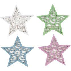 Felt Stars, D: 46 mm, thickness 1 mm, white, light blue, light lillac, light green, 20asstd.