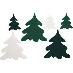 Christmas Trees, H: 4+7 cm, thickness 1,5 mm, 24asstd.