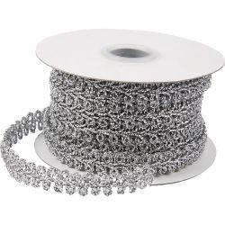 Braided Trim, W: 10 mm, silver, 10m.
