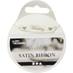 Happy Moments Satin Ribbon, W: 10 mm, off-white, Wedding, 8m.