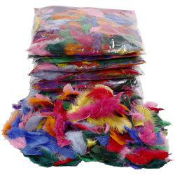 Feathers - Bulk Buy, size 7-8 cm, asstd colours, 500g.