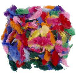 Feathers, size 7-8 cm, asstd colours, 50g.