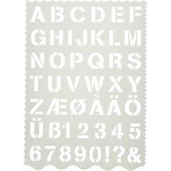 Shape Template , sheet 21x29 cm, H: 2,6 cm, letters and numbers, 1pc.