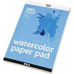 Watercolor Paper Pad, A5 148x210 mm,  180 g, white, 20sheets.