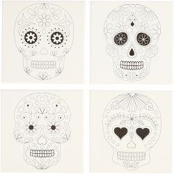 Stretched Canvas With Print, size 20x20 cm, depth 1,5 cm, skulls, 4pcs, 280 g.