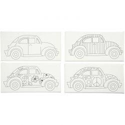 Stretched Canvas With Print, size 10x20 cm, depth 1,4 cm, cars, 4pcs.