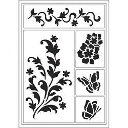 Viva Decor Flexible Stencil, sheet 21x14,8 cm, Flower & Butterfly, 1pc.
