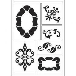Viva Decor Flexible Stencil , sheet 21x14,8 cm, Frames - 5 motives, 1pc.