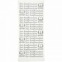 Peel Off Stickers, sheet 10x23 cm, silver, Zur Konfirmation, 5sheets, German.
