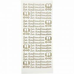 Peel Off Stickers, sheet 10x23 cm, gold, Zur Konfirmation, 5sheets, German.