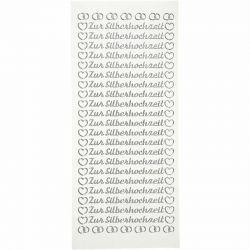 Peel Off Stickers, sheet 10x23 cm, silver, Zur Silberhochzeit, 5sheets, German.