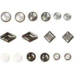 Vivi Gade Design Deco Rivets, size 8-18 mm, white, Skagen, 16asstd.