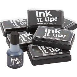 Ink Pad and refill, size 6,3x9,5 cm, black, 1set.