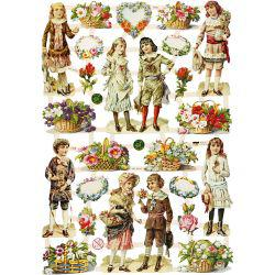 Vintage Die-Cuts, sheet 16,5x23,5 cm, children and flowers, 3sheets.