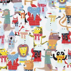 Wrapping paper, W: 50 cm, 80 g, happy animals, 5m.