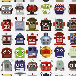 Wrapping paper, W: 50 cm, 80 g, robots, 5m.