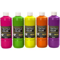 Textile Colour - Assortment, asstd. colours, neon, 5x500ml.