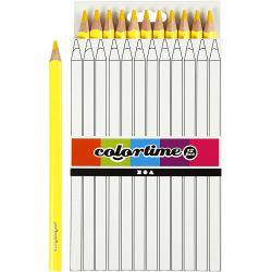 Colortime colouring pencils, lead: 5 mm, yellow, Jumbo, 12pcs.