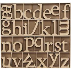 Wooden Letters, including free wooden display, H: 8 cm, thickness 2 cm, MDF, 112pcs.