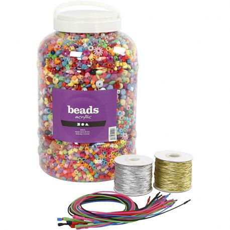 Bucket Containing Plastic Beads, Elastic Cord and Bracelets, size 6-20 mm, hole size 1,5-6 mm, 1set.