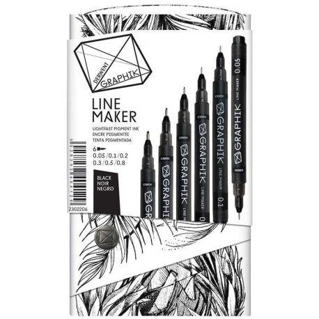 Graphik Line Maker Black Drawing Pens (Set of 6)