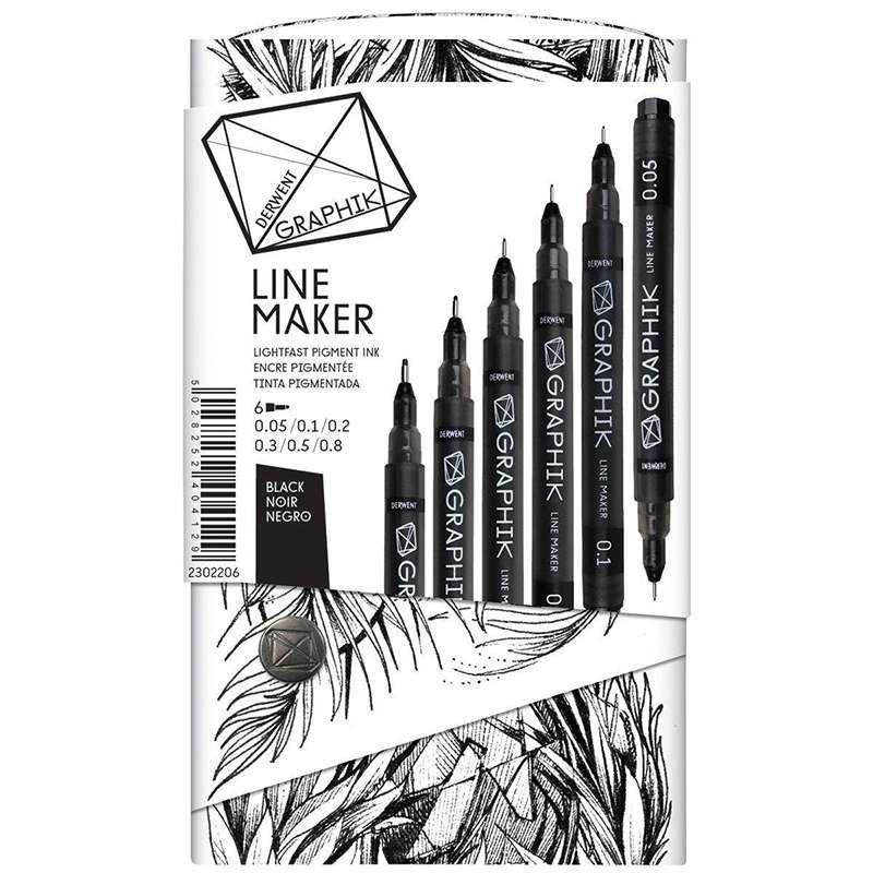 Graphik Line Maker Black Drawing Pens (Set of 6) - Cowling & Wilcox Ltd