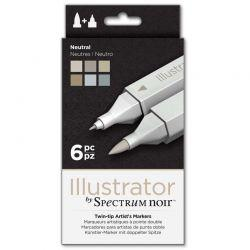 Illustrator Marker Set of 6: Neutral