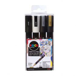 POSCA PC-5M Mono Tones Pack of 4
