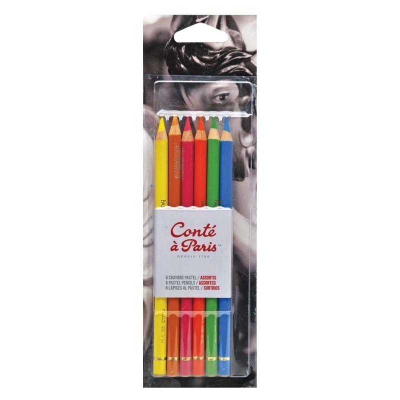 Pastel Pencil Set of 6: Assorted Bright Hues