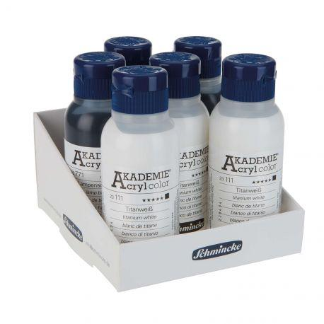 Akademie Acrylic Colour Tray of Titanium White & Lamp Black