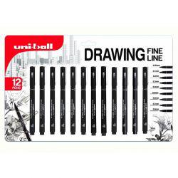 Pin Black Fine Line Pens (Blister Pack of 12)