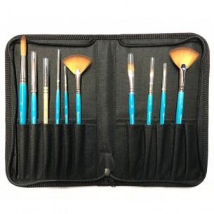 Aquafine Zip Case of 10 Mixed Brushes
