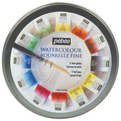 Watercolour Aquarelle Round Box Set (12 Half Pans)