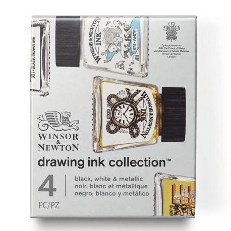 Drawing Ink Collection: Black, White & Metallic (4 x 14ml)